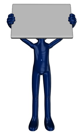3D rendered cartoon Michael figure with sign in poses Stock Photo