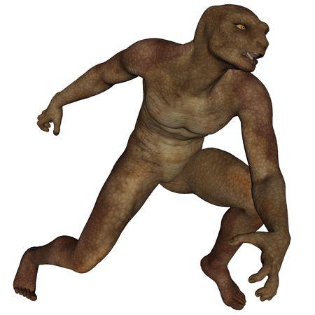 sauri: Uomo lucertola rendering 3D su sfondo bianco isolato  Archivio Fotografico