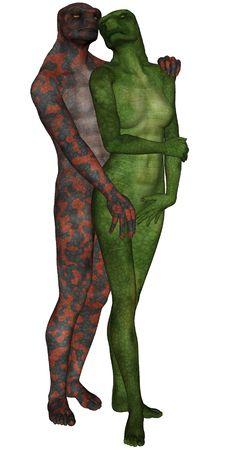 3D gesmolten lizard liefhebbers van man en vrouw op witte achtergrond geïsoleerd