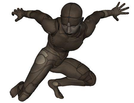titanium: 3D rendered scifi titanium man on white background isolated Stock Photo