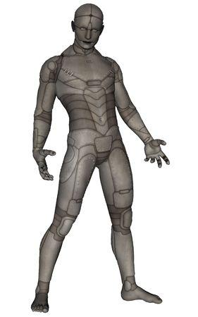 futuristic man: 3D rendered scifi titanium man on white background isolated Stock Photo