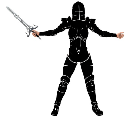 Fantasy woman knight with sword rendered on white background isolated photo