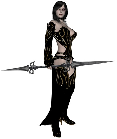 spear: 3D rendered woman dark elf warrior with spear on white background isolated