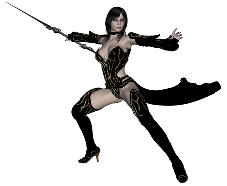 3D rendered woman dark elf warrior with spear on white background isolated