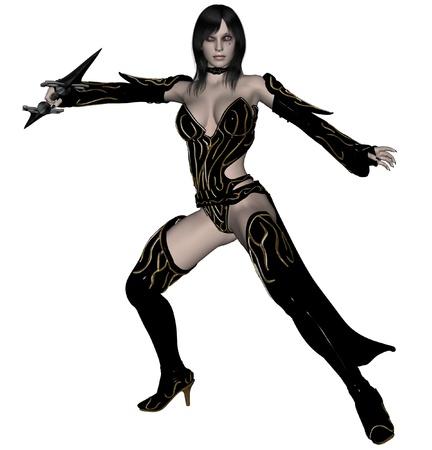 dark elf: 3D rendered woman dark elf warrior with spear on white background isolated