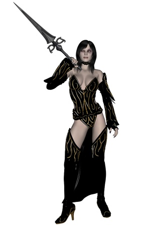 3D rendered woman dark elf warrior with spear on white background isolated Stock Photo - 8594456