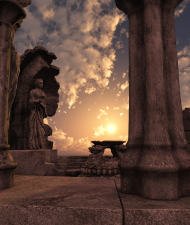 3D rendered fantasy ancient temple ruins with statues Stock Photo