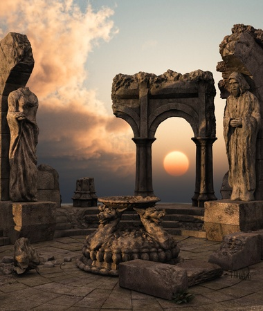 history architecture: 3D rendered fantasy ancient temple ruins with statues Stock Photo