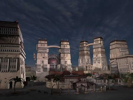 3D rendered fantasy ancient city with monuments Stock Photo