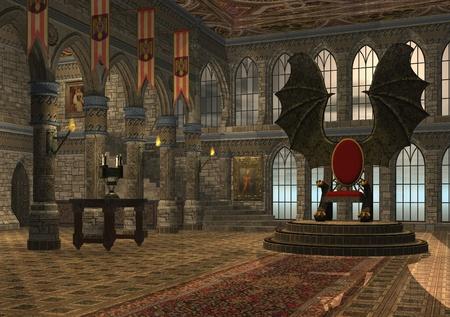 trono: 3D prestados ilustración de fantasía dragón trono hall Foto de archivo