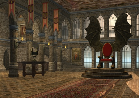 throne: 3D rendered fantasy dragon throne hall illustration Stock Photo