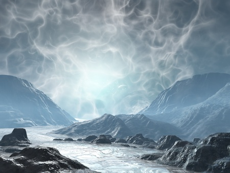 3D rendered fantasy landscape with lightning and sun Stock Photo
