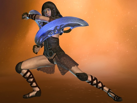 3D rendered fantasy woman warrior with exotic swords photo