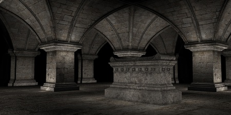 crypt: 3D rendered scene of dark crypt with tomb