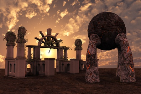 3D rendered ancient fantasy temple ruins on sunset