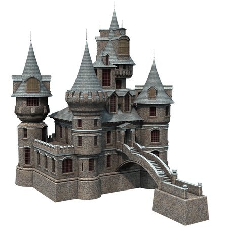 3D rendered fantasy castle on white background isolated Stock Photo