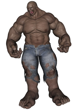 monstrous: 3D rendered monstrous bodybuilder man on white background isolated