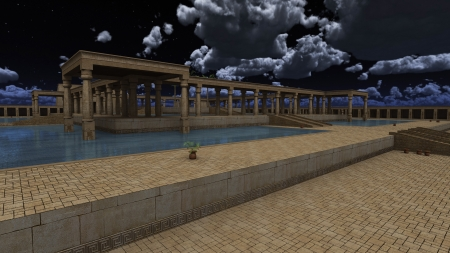 monumental: 3D rendered illustration of monumental palace Egyptian god RA Stock Photo