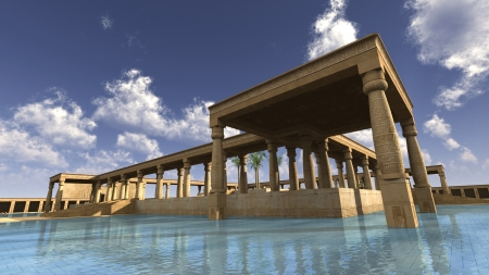 ra: 3D rendered illustration of monumental palace Egyptian god RA Stock Photo