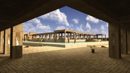 monumental: 3D rendered illustration of monumental palace Egyptian god RA Stock Photo
