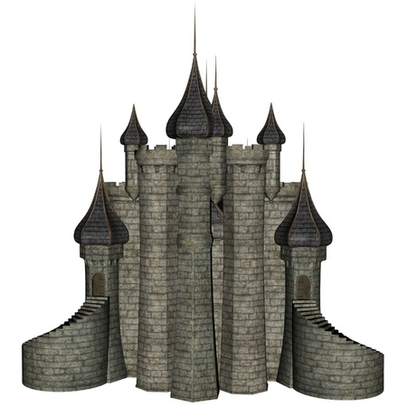 3D rendered illustration of fantasy castle on white background isolated Stock Photo