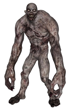 3D rendered illustration of undead creature on white background isloated