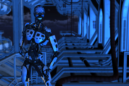 docking: 3D rendered illustration of sci-fi cyborg on docking bay in the night