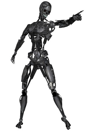 3D rendered scifi cyborg on white background isolated