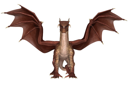 3D rendered fantasy dragon on white background isolated
