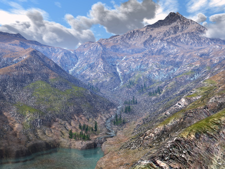 3D rendered spring mountains with snow tree and lake