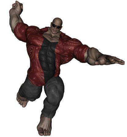 3D rendered bodybuilder mafia man on white background Stock Photo