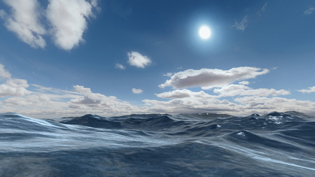 3D rendered enviroment scene of ocean at sunset with sun on the sky Stock Photo