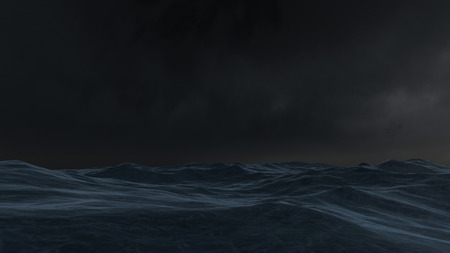 3D rendered enviroment scene of ocean at night with moon light