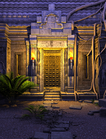 3d temple: 3D rendered fantasy temple gate in the night Stock Photo