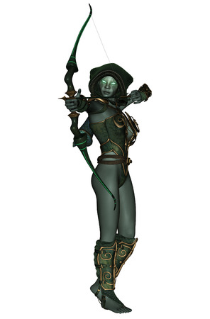 3D rendered dark elf warrior on white background photo