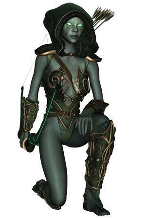 3D rendered dark elf warrior on white background