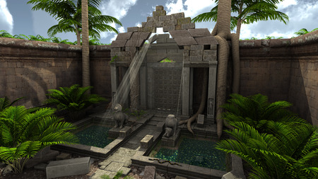 3D rendered fantasy temple with garden during day