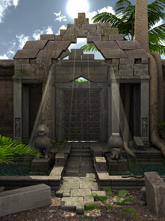 3d temple: 3D rendered fantasy temple with garden during day