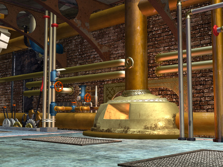 3D rendered steampunk industrial scene of ventilation system photo