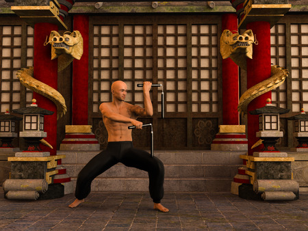 3D rendered Kung Fu monk in action pose with nunchaku in temple Stock Photo