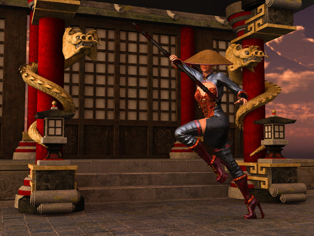 rendered: 3D rendered Kung Fu woman warrior in action pose with bo staff in temple
