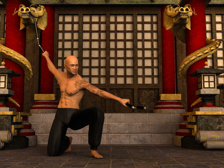 3d temple: 3D rendered Kung Fu monk in action pose with nunchaku in temple Stock Photo