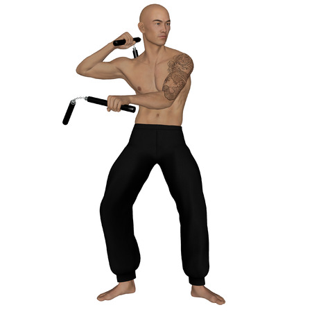 kung: 3D rendered Kung Fu monk with nunchaku on action poses on white background isolated