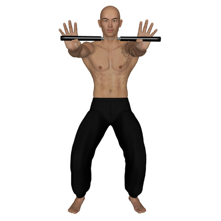 nunchaku: 3D rendered Kung Fu monk with nunchaku on action poses on white background isolated