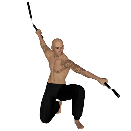 ninja ancient: 3D rendered Kung Fu monk with nunchaku on action poses on white background isolated