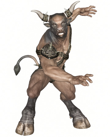 creature: 3D rendered fantasy minotaur creature on white background isolated