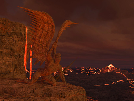 hell: 3D rendered illustration of hell scene with lava and statues of fallen angels