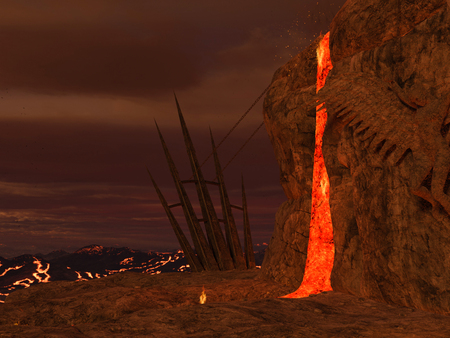 abyss: 3D rendered illustration of hell scene with lava and statues of fallen angels