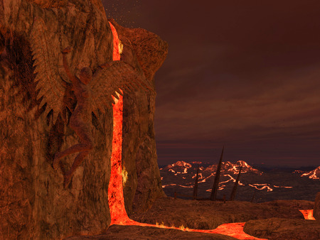 underworld: 3D rendered illustration of hell scene with lava and statues of fallen angels
