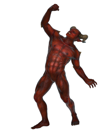hell: 3D rendered devil from the hell on white background isolated Stock Photo